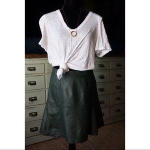 Anthropologie Leifsdotter Leather Scallop Skirt